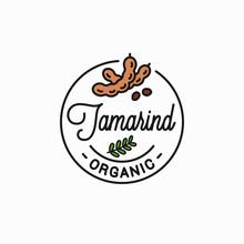 Tamarind Fruit Logo. Round Lin...