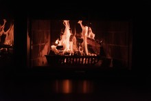 Closeup Shot Of A Fire In A Br...