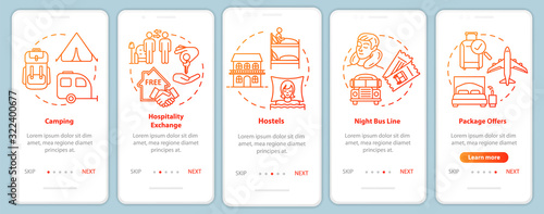 Fotografiet Passing night onboarding mobile app page screen with concepts