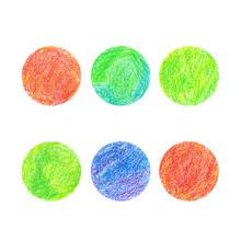Crayon Drawn Set Of Red, Green And Blue Circles