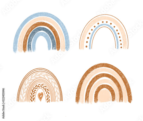 Collection of hand drawn boho rainbows in pastel blue and brown colors, isolated Canvas Print