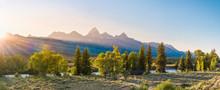 Sunset Over The Grand Tetons In Grand Teton National Park In Summer