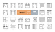 Set Window Curtains 25 Icons With Editable Stroke. French, Austrian, Japanese, Classic Curtains, Blinds, Drapery, Wicker, For The Bathroom. Thin Symbols For Interior Design, Textiles Shop.