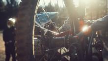 Mountain Biker And Wheel