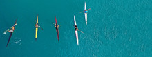Aerial Drone Ultra Wide Photo Of Women Athletes Competing In Sport Canoe In Tropical Exotic Lake