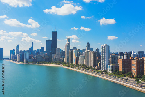 Aerial view of Chicago skyline with Michigan lake