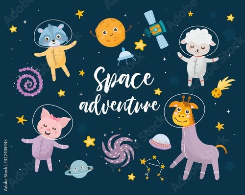 Space adventure kids illustration with hand lettering and different elements of cosmos Canvas Print