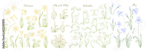 Obraz Set of spring flowers: iris, lily of the valley, snowdrop, daffodil. In art nouveau style, vintage, old, retro style. Outline vector illustration. - fototapety do salonu