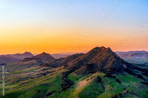 Sunrise, Sunset over Mountain Range, valley, fields