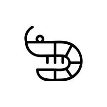 Shrimp Icon Vector. Thin Line Sign. Isolated Contour Symbol Illustration