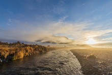 New Zealand, Grey District, Inchbonnie, Sun Rising Over Waimakariri River In Arthurs Pass National Park