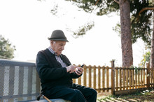 Old Man With, Sitting On Bench...