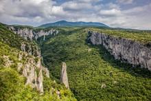 Lime Columns In Vela Draga Canyon, Ucka Nature Park, Istria, Croatia