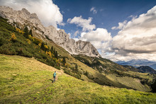 Woman Hiking At Wilder Kaiser,...