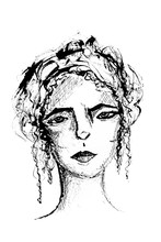 Ink Sketch Of A Woman's Face