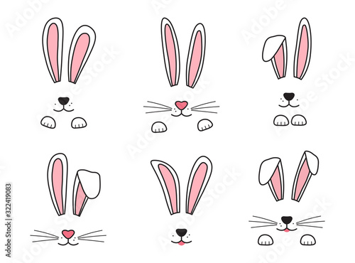 Carta da parati Easter bunny hand drawn, face of rabbits