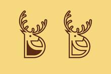 Letter D For Deer Logo, Line Art Style, Simple Minimalist Deer Icon, Modern Antelope Logo Design