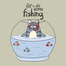 Cute Cartoon Cat And Fish In T...