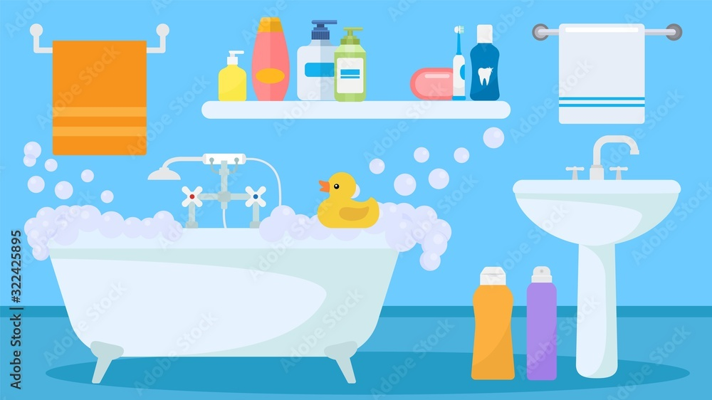 Fototapeta Bathroom interior with soapy foam water filled tub and toy duck for child playing vector illustration. Sink, bath items, accessories towels, shower gel and shampoo bottles, toothbrush.