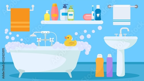 Valokuva Bathroom interior with soapy foam water filled tub and toy duck for child playing vector illustration