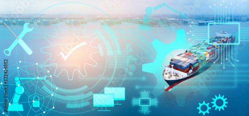 Fototapeta Aerial of cargo ship carrying container with line maintenance technology concept  from  cargo yard port to other ocean concept freight shipping ship on blue sea background
