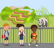 Children Excursion To Zoo Vector Illustration. Wild Cute Animal Panda In Open Air Behind Fence. Happy Smiling Multiracial People Visitor School Kids Boy Girl Group Go Past Panda In Zoological Garden.