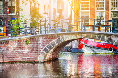 Photo European Traveling. Bridges of Amsterdam City in the Netheralnds.