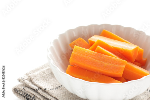 Foto boiled carrot for healthy food ingredient,