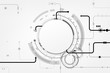 Vector circuit with gray circle and arrow for communication technology background concept