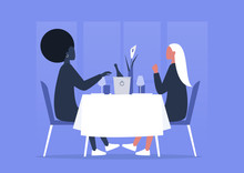 Fine Dining Restaurant, Interracial Lesbian Couple Having Romantic Dinner, Anniversary Celebration, First Date Or Saint Valentines Day