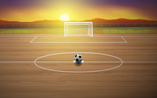 Football Field On The Wooden F...