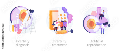 Obraz Pregnancy planning, reproductive function problems. Infertility diagnosis, infertility treatment, artificial reproduction metaphors. Vector isolated concept metaphor illustrations. - fototapety do salonu