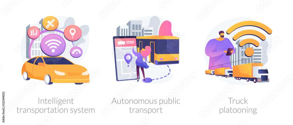 Fototapeta Smart traffic management, Internet of Things. Intelligent transportation system, autonomous public transport, truck platooning metaphors. Vector isolated concept metaphor illustrations.
