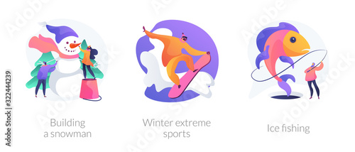 Fototapeta Winter activities, hobby and recreation, outside leisure, snowboarding. Building a Snowman, winter extreme sports, ice fishing metaphors. Vector isolated concept metaphor illustrations. obraz