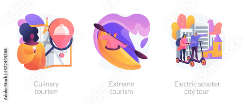 Obraz Adventure touristic activities, recreation, broadening horizons. Culinary tourism, extreme tourism, electric scooter city tour metaphors. Vector isolated concept metaphor illustrations. - fototapety do salonu