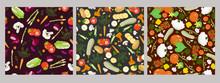 Set Of Vegetable Seamless Patt...