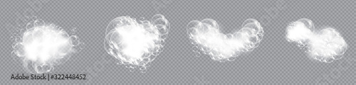 Obraz na plátně Bath foam soap with bubbles isolated vector illustration on transparent background