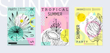 Summer Party Poster Set, Geometric Memphis Style. Cool Trendy Flyer With Type Quote. Tropical Elements For Travel Banner, Music Cover, Fashion Print. Leaf Vector Illustration, Mint, Pink Background