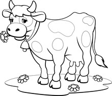 Cow Coloring Pages. Coloring Book Design For Kids And Children