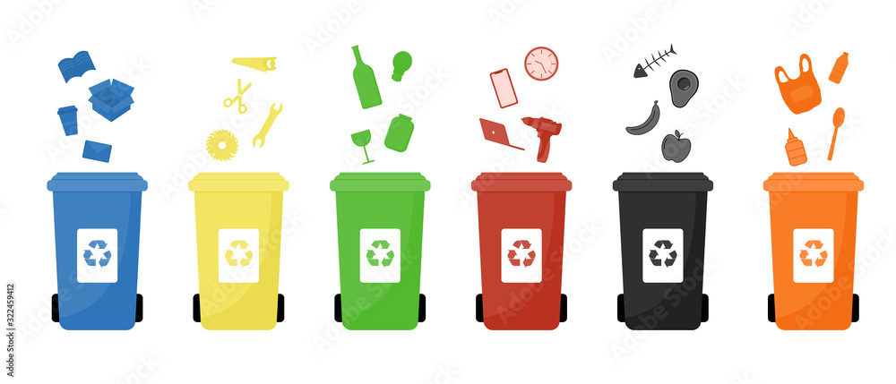 Fototapeta Garbage cans vector flat illustrations. Sorting garbage. Ecology and recycle concept. Colorful recycle trash bins isolated on white background.