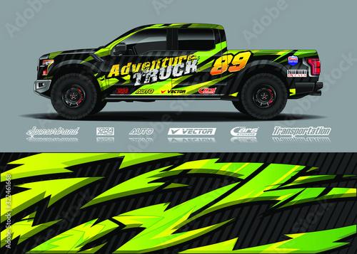 Fényképezés Truck wrap design vector kit