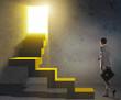 Leinwanddruck Bild Young businessman climbing career ladder