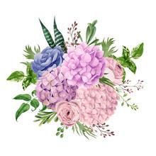 Lush Pink Hydrangea Bouquet, T...