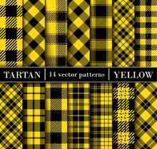 Set Yellow Tartan  Plaid  Seamless Patterns.