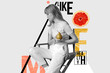 Leinwanddruck Bild - Fashion stylish young woman holding pears fruits posing on trendy minimal creative modern abstract contemporary art collage monochrome and color background, zine culture, healthy lifestyle concept