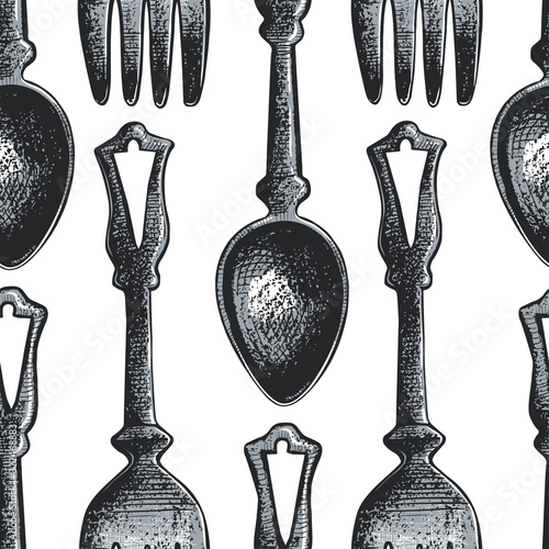Fotografia, Obraz .Seamless pattern with cutlery.Sketch of spoons and forks on a white background.
