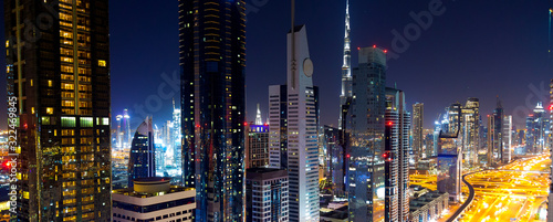 Dubai city scape at the night Canvas Print