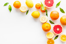 Fresh Citrus Frame. Oranges, Tangerines, Grapefruits, Leaves On White Background Top-down Copy Space