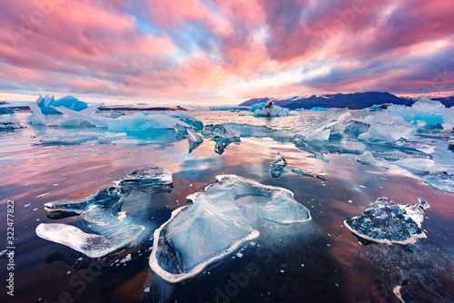 Incredible landscape with icebergs in Jokulsarlon glacial lagoon Canvas Print