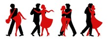 Vector Set Of Silhouettes Of Couples Dancing Tango. Black Silhouette Of A Man And Red Silhouette Of A Woman. Passionate Girl And Handsome Man In Four Versions Of The Dance.